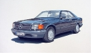 Mercedes 500 Coupe - Gouache 20 x 30 cm
