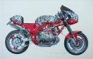 Motorrad - Gouache 37 x 20 cm