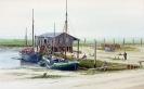 Hafen Neufeld um 1900 - Aquarell 20 x 30 cm